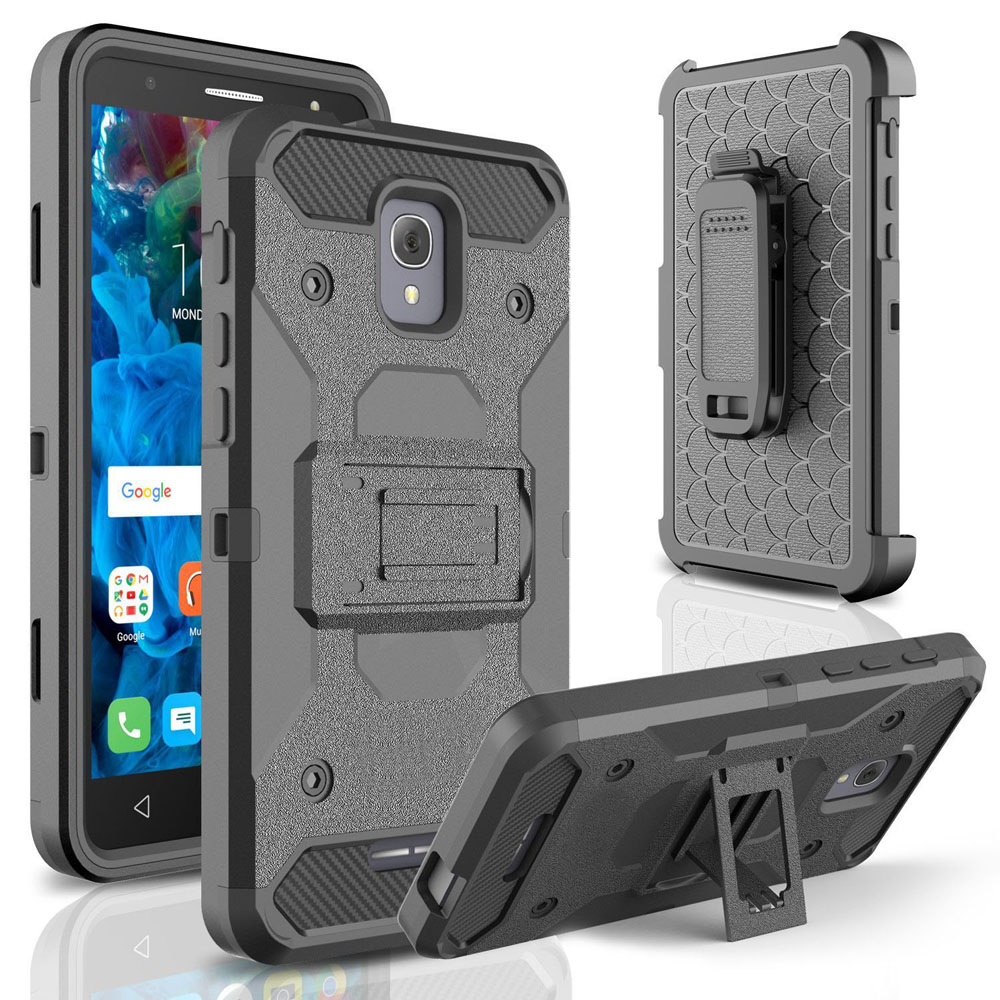 Rational Heavy Duty Durable Armor Case Shockproof Holster With Belt Clip Kickstand Cover For Alcatel Fierce 4/pop 4 Plus/onetouch Allura@ Moderate Price Phone Bags & Cases Cellphones & Telecommunications