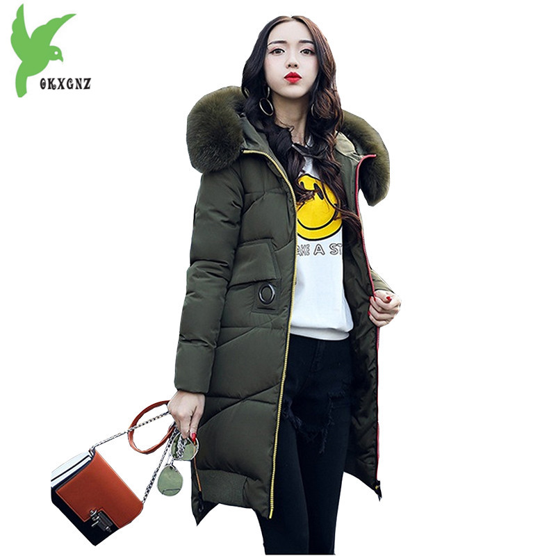 New Winter Women Down Cotton Coats Fashion Hooded Fur Collar Long Jackets Plus Size Thick Warm Down Cotton Outerwear OKXGNZ 812 100% white duck down women coat fashion solid hooded fox fur detachable collar winter coats elegant long down coats