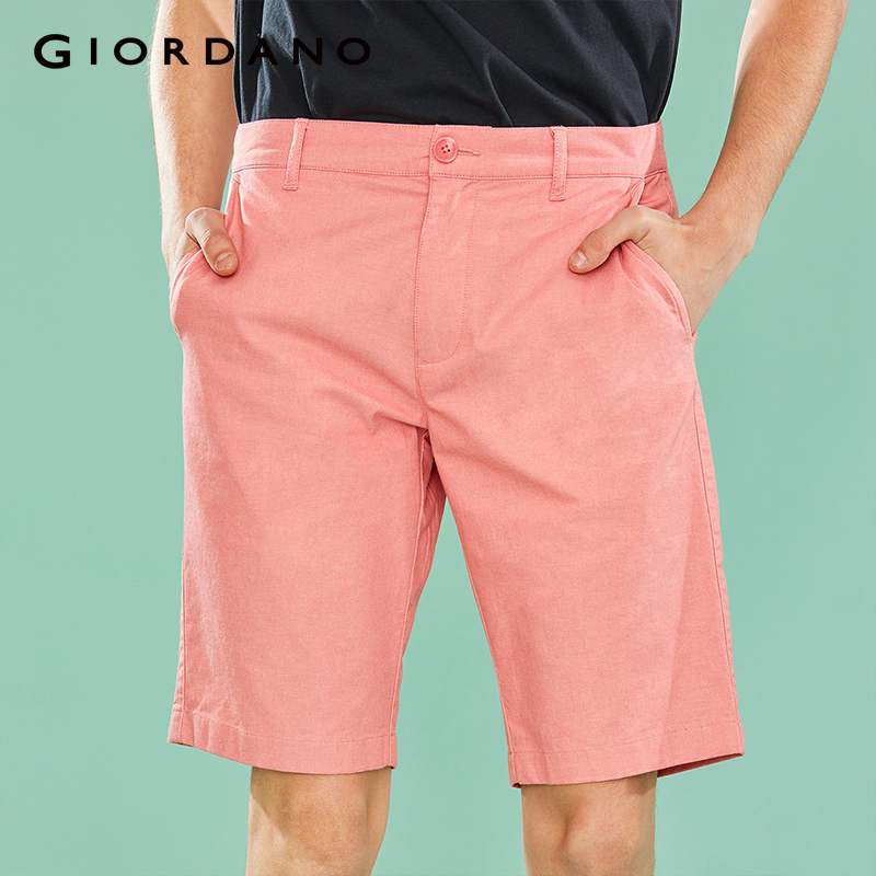 Giordano Men Casual Summer   Shorts   Stretchy Mid-low Rise Casual Slim Fit   Shorts   Men Cotton Spandex Mixed Fabric Durable Bermuda