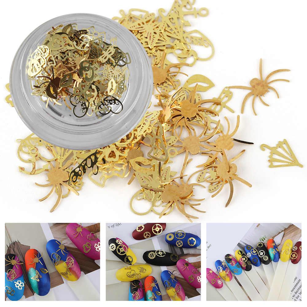 120 ชิ้น/ขวดผสมโลหะทองชิ้นตกแต่งเล็บเล็บดอกไม้เกียร์ผีเสื้อเล็บ Art Flakes เล็บเล็กๆสติกเกอร์ decors