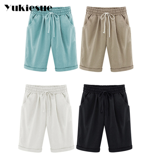 2018 Summer Woman Cotton linen harem pants Plus size Lady Casual Short Trousers candy Color Khaki black red blue pink M-6XL 5
