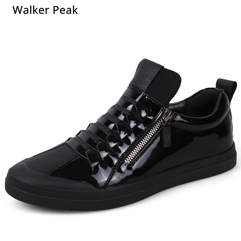 All Black Mens casual shoes Fashion Split leather Sneakers Men fashion flats High top designer shoes