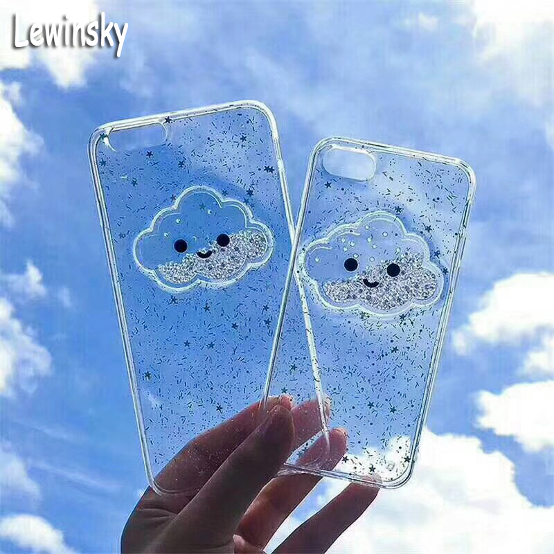 Galleria fotografica Luxury Glitter Bling Case For iphone 8 Case Fashion Cute Star Cover Shining Powder Clouds Phone Cases For iphone 8 8 Plus Coque