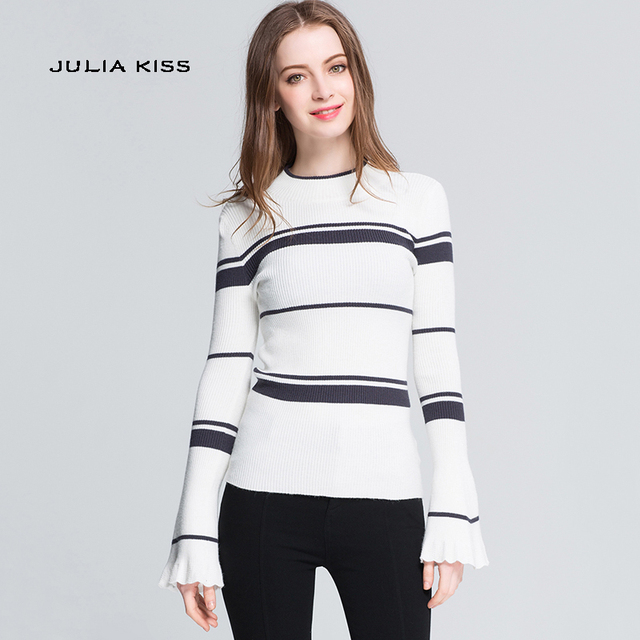 8525455fcb US $15.25 |Women Striped Ribbed Trim Sweater with Flare Sleeve Contrast  Striped Knit Pullovers-in Pullovers from Women's Clothing on Aliexpress.com  | ...