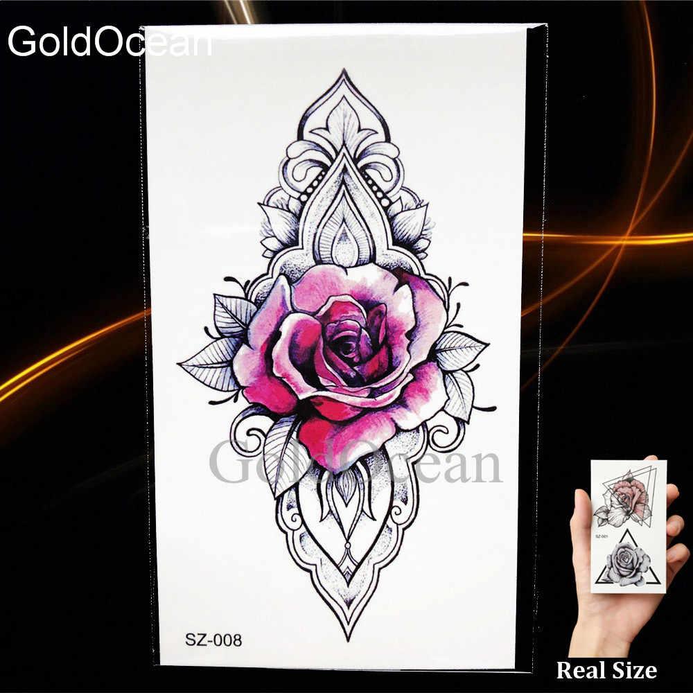 1b88730c5da54 ... DIY Rose Flower Watercolor Tattoo Women Temporary Tattoo Stickers Leaf Flora  Girl Lace Waterproof Tatoos Triangle ...