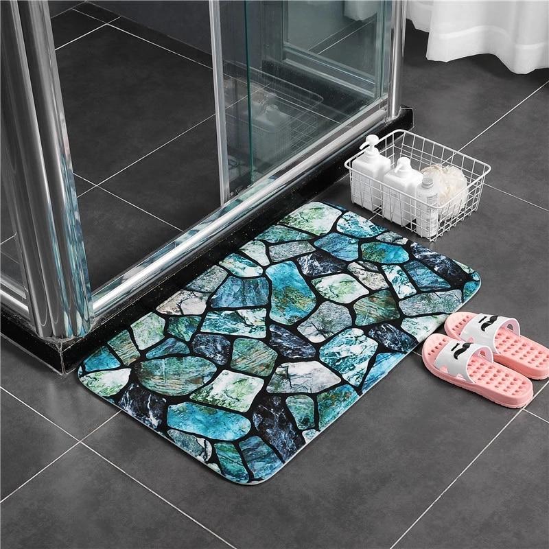 Pierres colorées Ensemble de tapis de bain Épaissir Flanelle salle de Bains tapis de Toilette tapis WC Chambre tapis de Sol tapis salle de bain 45*75 45*120cm