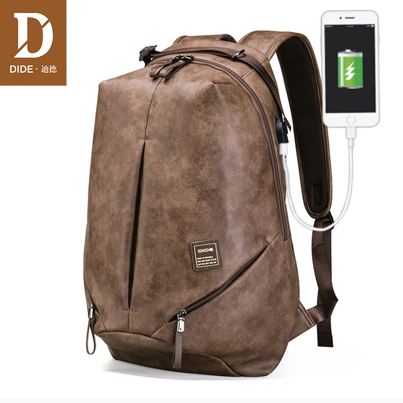 DIDE Brand High Quality USB charging 15 inch Backpacks For School Bag Male Mochila Leather Travel