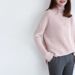 Hot Sale Sweaters Women 100% Cashmere and Wool Jumpers Loose Style Woman Pullovers Turtleneck Sweater Ladies Clothes Woolen Tops 6
