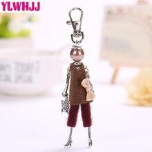YLWHJJ Brand Doll fairy Handmade Cute Brown Women keychain Car Girl Pendant fashion Bag key chain jewelry Butterfly accessories