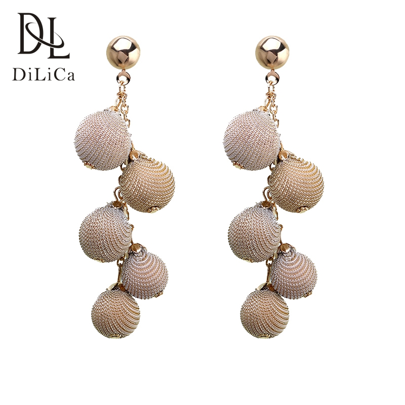 DiLiCa Trendy Drop Dangle Earrings for Women Big Alloy Beads Statement Earrings Female Long Earring orecchini pendenti lunghi