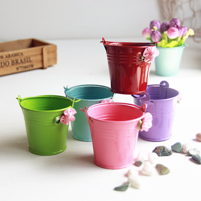 pastoral candy color tin iron color small pots with handle mini bucket flower pot garden pots - Garden Pots