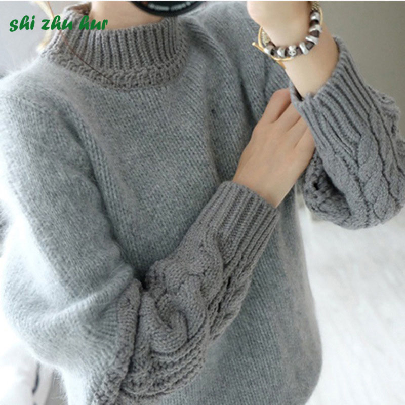 Girls Fashion Knit Sweaters Autumn/Winter Long Sleeve Solid Color Knit Warm Sweater 10-20Years Girl Costume Thickening Hot sale цена