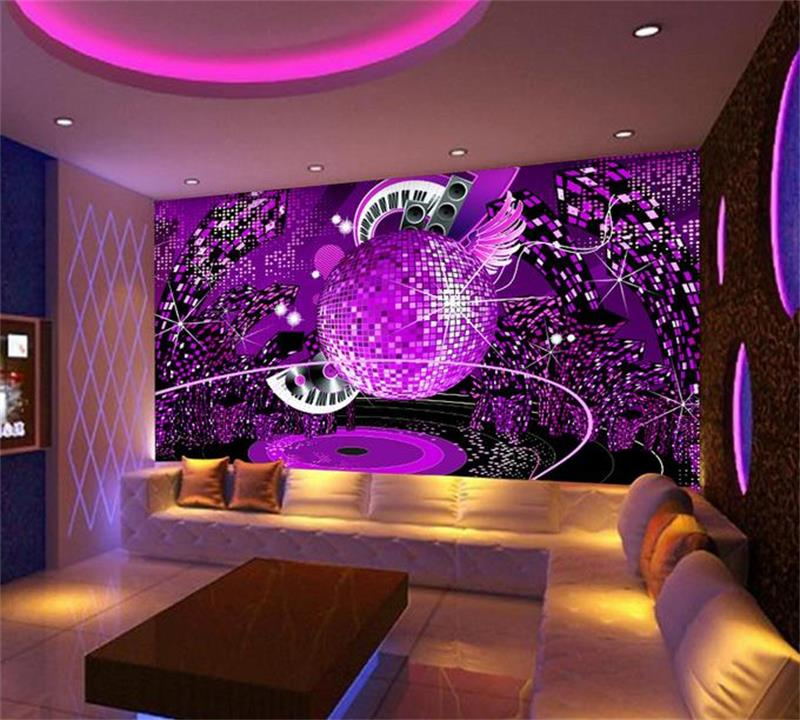 karaoke purple background ktv 3d bar wall diamond painting mural walls custom zoom wallpapers woven non end mouse