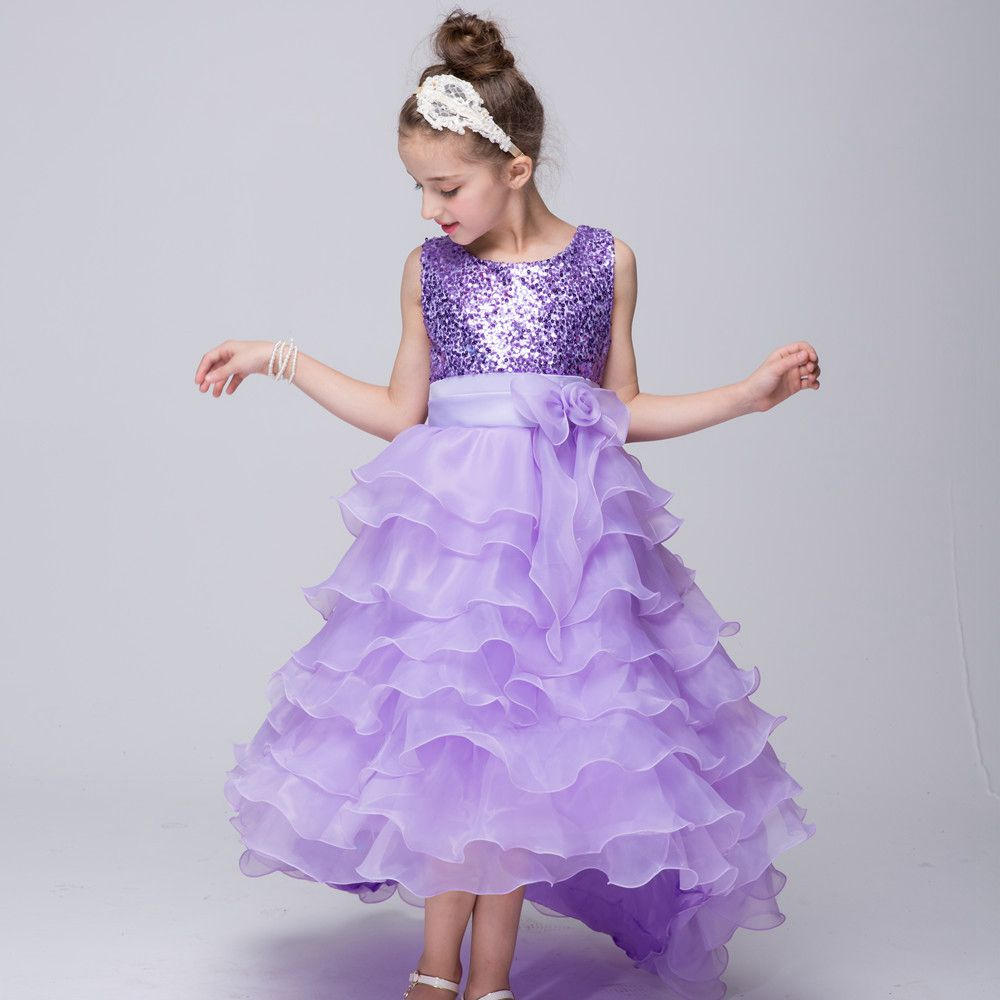 Kids Children High Low Cake Ball Gown Flower Girls Baby Girl Sequins Bow Princess Dress Party Wedding Performance Vestidos S3546