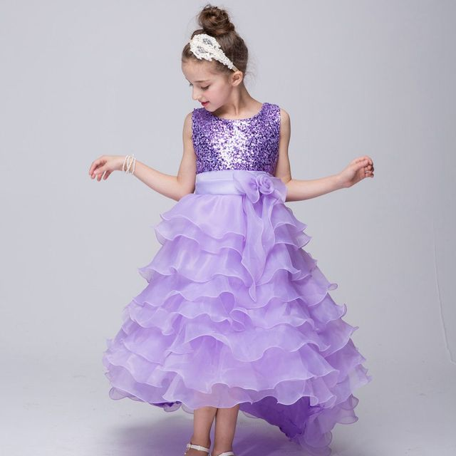 f826333e0e5e7 US $21.36 5% OFF|Kids Children High Low Cake Ball Gown Flower Girls Baby  Girl Sequins Bow Princess Dress Party Wedding Performance Vestidos S3546-in  ...