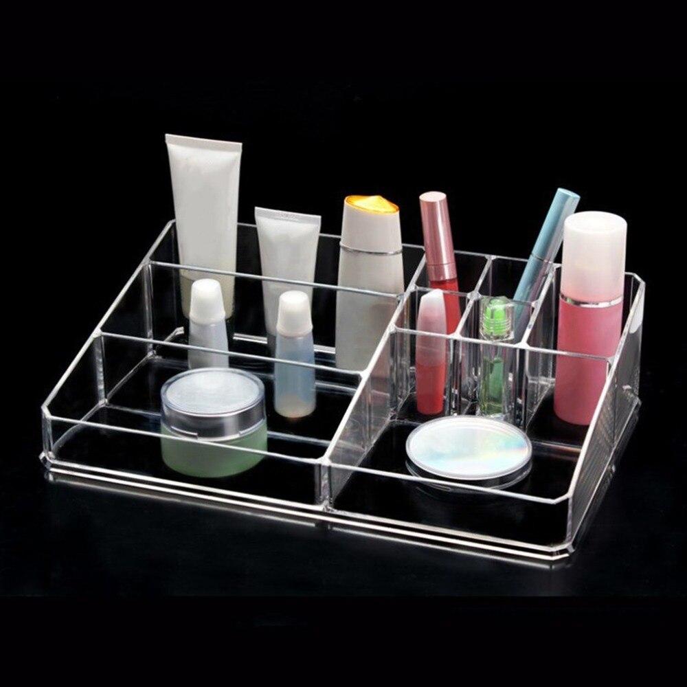 Acrylic Makeup Storage Box Display Case Jewelry Box Makeup Organizer Tool Transparent Multi-Slots Desktop Cosmetic Organizer
