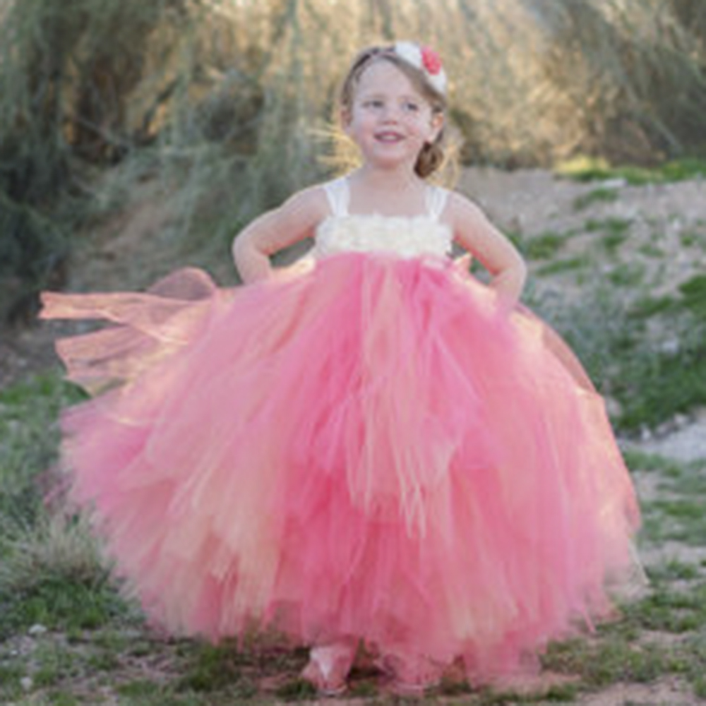 Aliexpress Buy Coral Ivory Flower Girl Dress With Ivory
