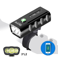 3L2 6000LM Bike Lights Bicycle Light Cycling headlight Front Lamp Built in Battery USB Charging for phone