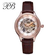 PB Marca de Calidad Superior de Cristal Austriaco Ladies Mecánico Automático Esquelético Del Reloj de Relojes de Lujo de Las Mujeres Del Cuero Genuino con la Caja