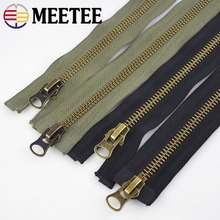 Meetee 8# Metal Zipper 15/18/20/25/70/80/90/100/120cm Double Sliders Coat Down Jacket Zip Repair DIY Clothing Sewing Accessories