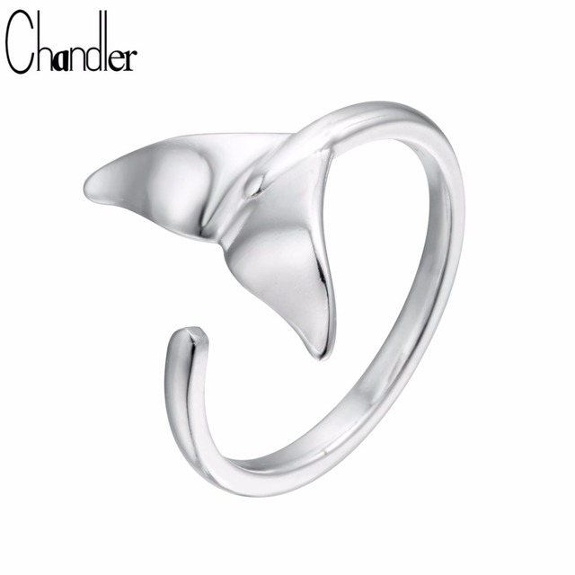 Chandler 1pcs Ssilver Mermaid Ring Women Tiny Sea Maid Whale Tail