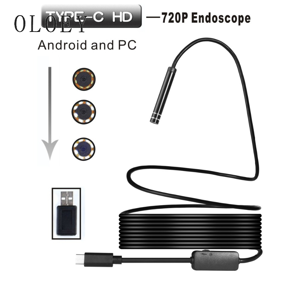 8LED 1/3/5/7/10m Type C Endoscope 8mm Lens Borescope Inspection Tube Video USB Camera Professional Mini Camcorders