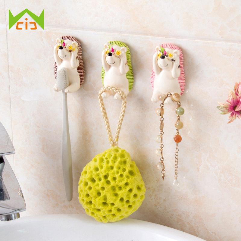 WCIC Cute Shy Hedgehog Suction Toothbrush Holder Wall Mount Tooth Brush Organizer Sundry Key Hook Kitchen Bathroom Wall Hanger image