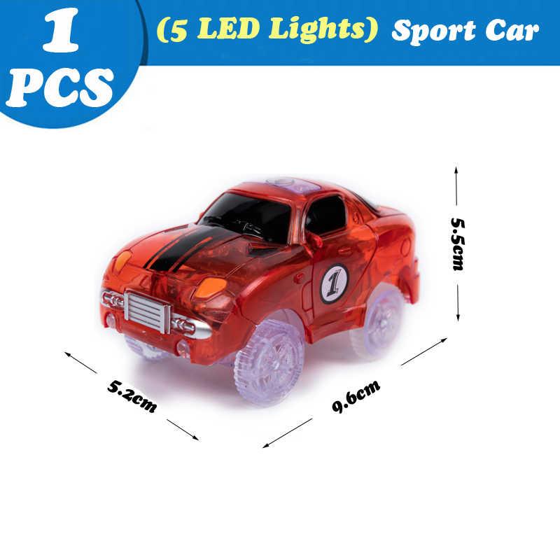 Nouvelle voiture de course pour pistes magiques avec 5LED lumière enfants Cool course camion de pompiers voitures de police jouets éducatifs pour enfants garçon fille