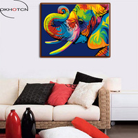 OKHOTCN Framed Wall DIY Painting By Numbers Hand Painted Oil Canvas Posters Elephant Home Living Room
