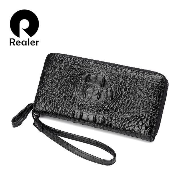 REALER brand women's purse luxury crocodile prints wallet women clutch female artificial leather wristlets with strap Black