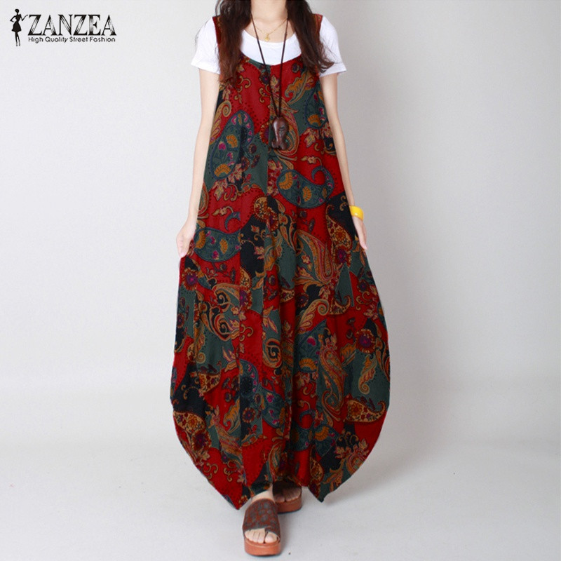 Boho 2018 Summer ZANZEA Women Vintage Print Dress O Neck Casaul Loose Sleeveless Ankle Length Long Maxi Dresses Vestidos M-5XL