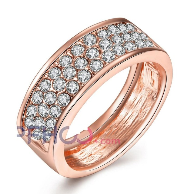 High-Class Punk Style Rose Gold Color RingClassic Yellow Gold Color Rhinestones Studded Finger Rings Jewelry For Women