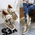 2016 New Spring Autumn Oxfords Womens Lace-up Flats Platform Shoes England Style Patent Leather Star Casual Shoes