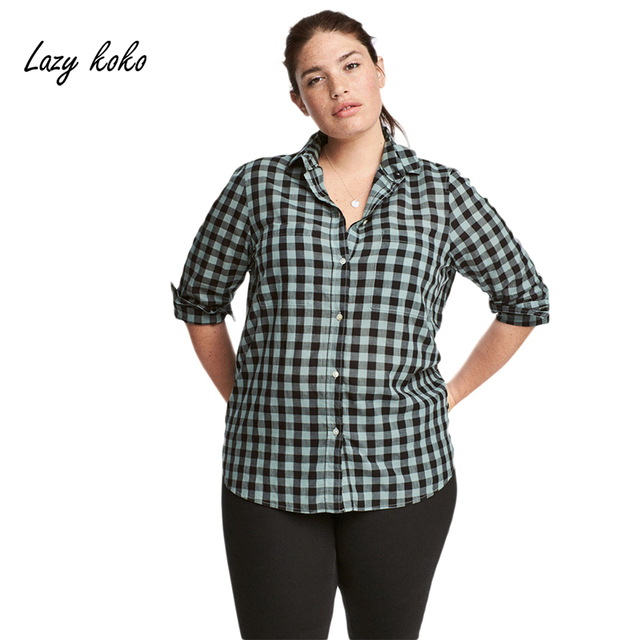 7ca834532a1 Lazy KoKo Women Plus Size Button Down Two Pocket Front Shirt Turn Down  Collar Plaid Basic Shirt Large Size Casual Loose Shirt