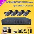 LOFAM 8 Canal CCTV Sistema de câmera de Segurança com câmera AHD 720 P DVR 4 x 800TVL outdoor video surveillance Camera Kit Sistema de CCTV 8ch