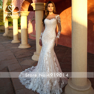 Image 2 - Detachable Train  2 in 1 Wedding Dress 2020 Appliques Long Sleeve Mermaid Bridal Gown Princess Swanskirt  K118 Vestido De Noiva