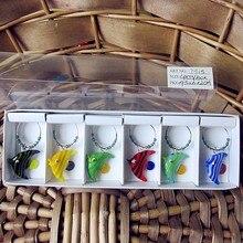 6pcs Custom wholesale hand blown glass tropical fish cartoon figurine ring pendants creative wedding party wine charms set