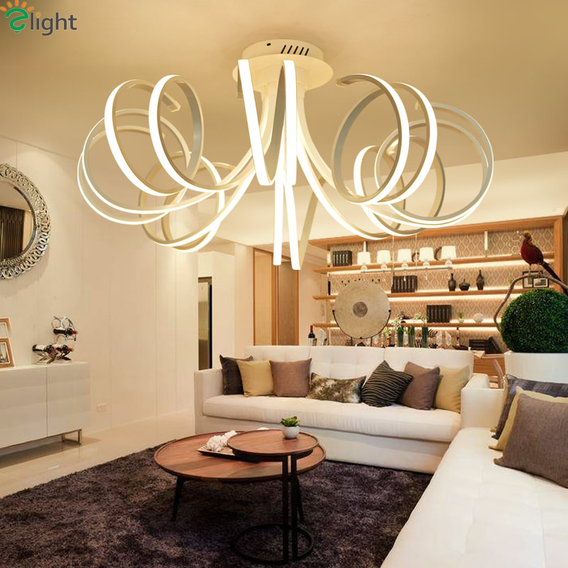 Modern Aluminum Dining Room Led Ceiling Chandeliers Lamp Lustre Acrylic Bedroom Dimmable Chandelier Lighting Lights Fixtures In From