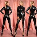 2016 Hot Sexy Black Catwomen Jumpsuit Faux Leather Catsuit Costumes for Women Body Suits Fetish Leather Dress One Size