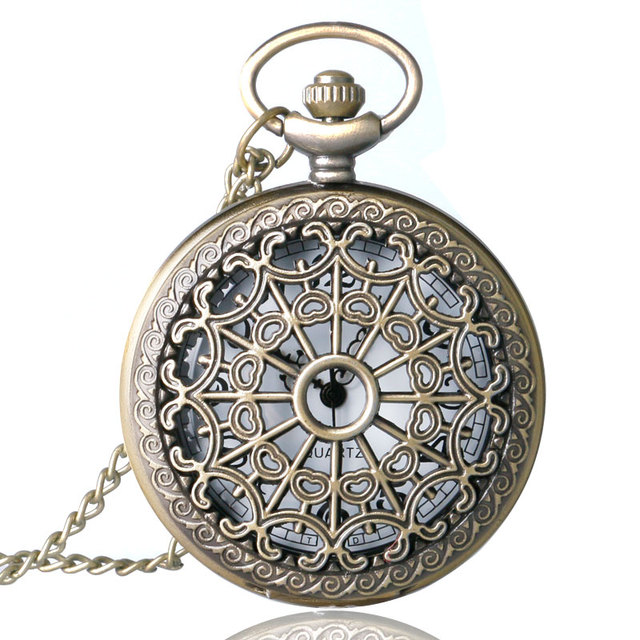Antique Steampunk Bronze Spine Ribs Hollow Quartz Pocket Watch Necklace Pendant