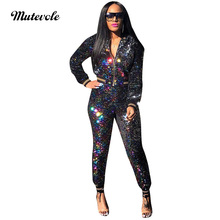 Mutevole Sexy Sequin Two Piece Sets Women Glitter 2 Piece Sets Long Sleeve Zipper