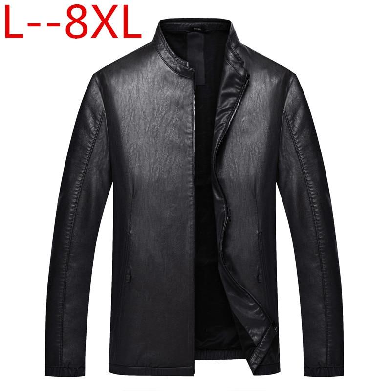 Plus 8XL 6XL Men Leather Jacket Genuine Real Sheep Goat skin Brand Black Male Bomber Motorcycle Biker Man's Coat Autumn Spring