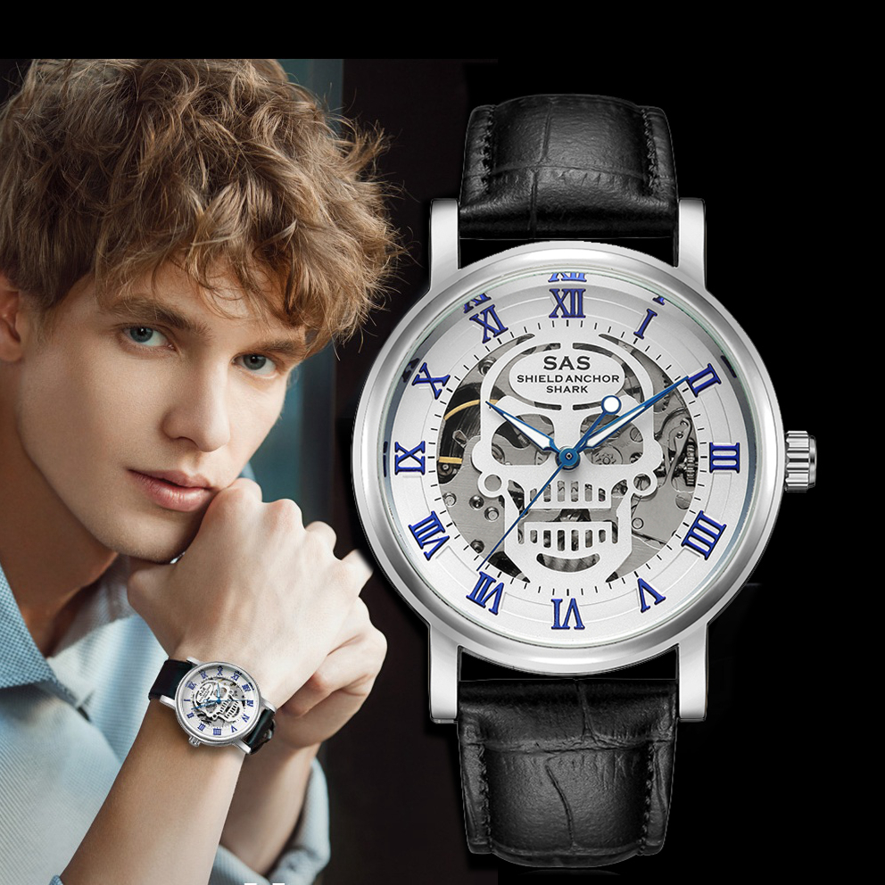 Watches Men Leather Fashion Automatic Skeleton Mechanical Men's Luxury Gold Mechanical Watch Male Clock Montre Homme Reloj Saati стоимость