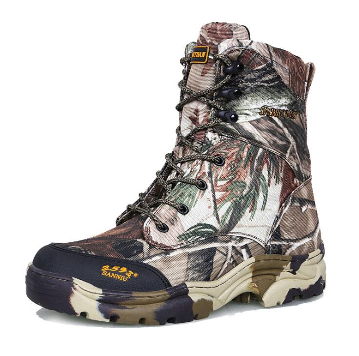 Men outdoor jungle desert hiking waterproof Boots leaf bionic camouflage spring autumn thin training hunting tactical high shoes