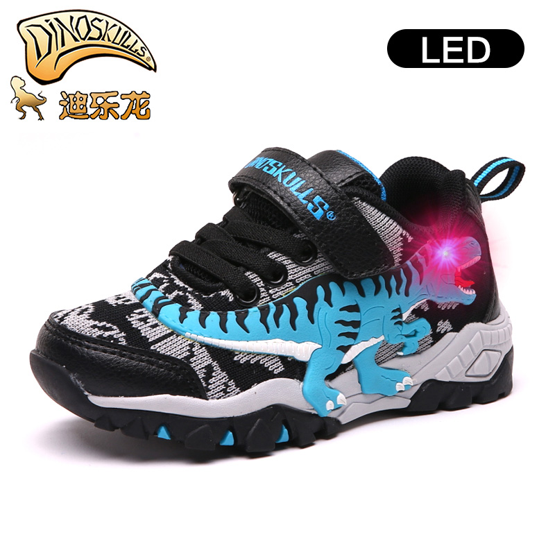 DINOSKULLS Autumn Tennis Glowing Sneakers Boys Dinosaur LED Light Breathable Children's Sports Shoes Knitted Kids T-rex Footwear