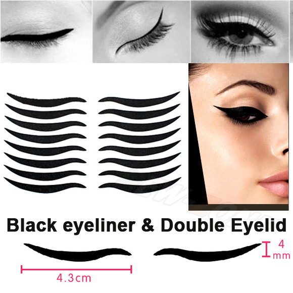 Sexy Cat Style Eyes Sticker Black Eyeliner & Double Eyelid Tape Smoky Tattoo Eye Makeup 48 Stickers Free Shipping