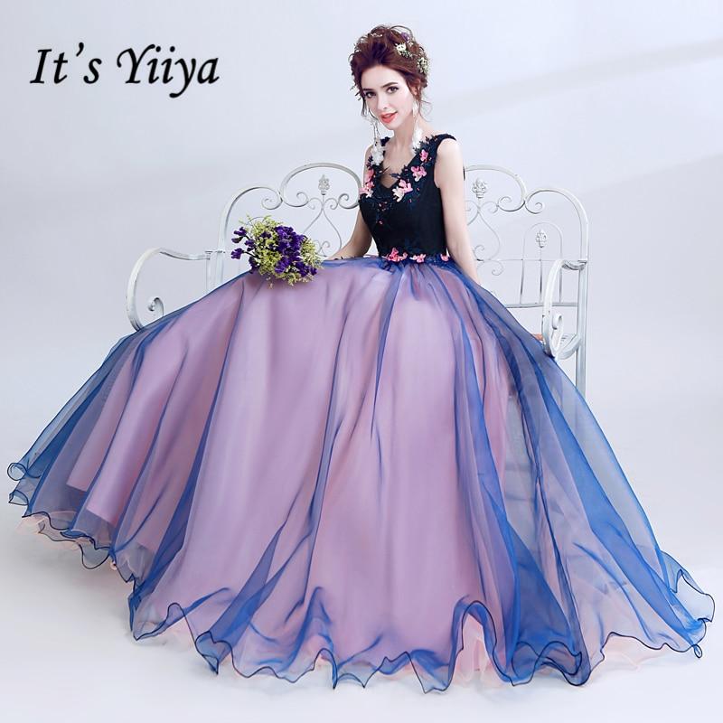 ebc7b2c12ee2 It's Yiiya V-Neck Sleeveless Blue Luxury Elegant Evening Dresses Famous  Designer Appliques Flowers Party