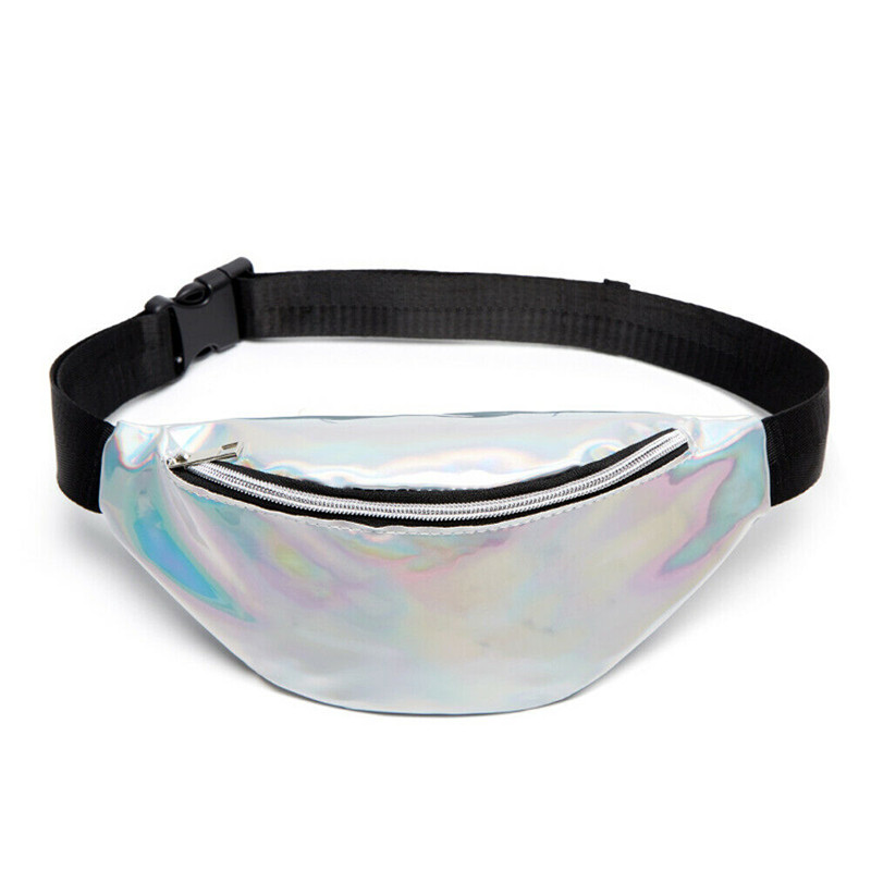 2019 Holographic Women Fanny Pack Belt Bag Shiny Neon Laser Hologram Waist Bags Travel Shoulder Bag Party Rave Hip Bum Bag