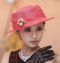 Free Shipping Hot Sale New Fashion Elegant Summer Girl Sinamay Hat Church Hat Short Brim Simple Sinamay  Three Colors Available