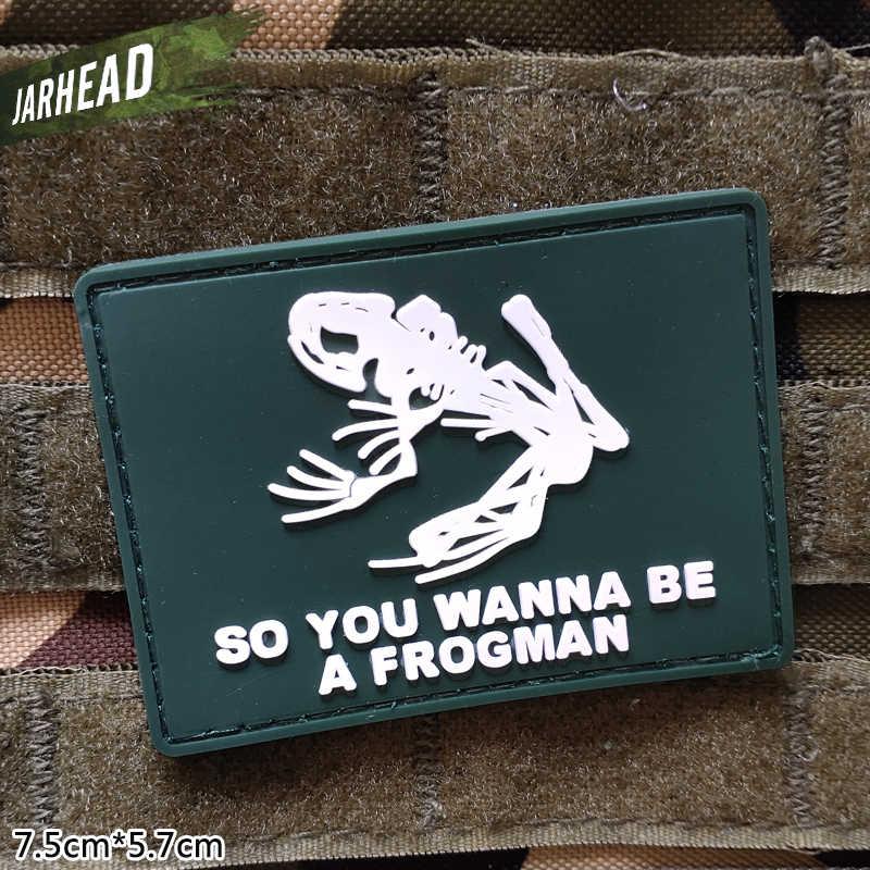 Frogman Военная ПВХ нашивки липучка резиновая нашивка Тактический значок индивидуальность для кронштейн одежда куртка